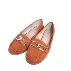 Topshop Coral Latte Loafers
